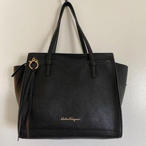 Salvatore Ferragamo black calfskin leather tote